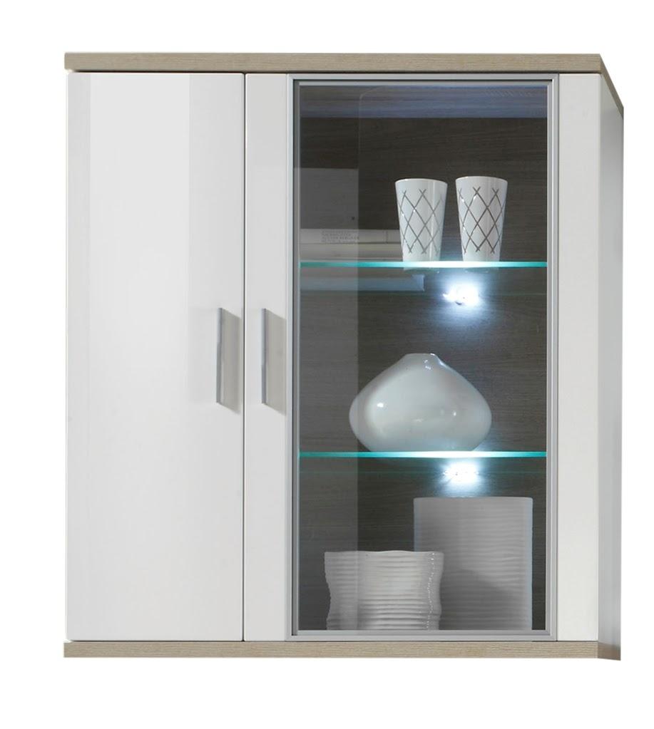 h ngevitrine weiss eiche sonoma hell inkl bel ebay. Black Bedroom Furniture Sets. Home Design Ideas