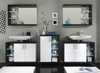 Badezimmer komplett Rauchsilber/Weiss HG