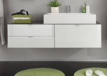 Hänge-Waschbeckenunterschrank Weiß HG/Grau inkl. Aufsatzwaschbecken