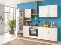 Einbauküche Magnolie/Wild Oak inkl. Elektrogeräte
