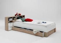 FABIO 1 90x200 Bettanlage mit Ablagefächern von FMD Eiche / Weiß