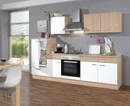 Küchenzeile Weiss/Sonoma Eiche inkl. Geräte