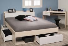 Schlafzimmer 2-tlg. Inkl 140x200 Bett Most 61 von Parisot Akazie / Weiß