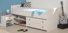 Schlafzimmer 2-tlg. mit 90x200 Stauraumbett Smoozy 24a von Parisot Kiefer Weiss / Blau