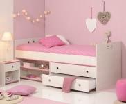 Schlafzimmer 2-tlg. inkl 90x200 Stauraumbett Smoozy 24b von Parisot Kiefer Weiss / Pink