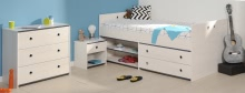 Schlafzimmer 3-tlg. mit 90x200 Stauraumbett Smoozy 23a von Parisot Kiefer Weiss / Blau