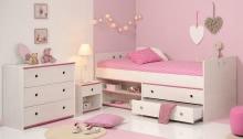 Schlafzimmer 3-tlg. mit 90x200 Stauraumbett Smoozy 23b von Parisot Kiefer Weiss / Pink