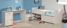 Schlafzimmer 3-tlg. inkl 90x200 Stauraumbett u Schreibtisch Smoozy 27a von Parisot Kiefer Weiss / Blau