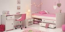 Schlafzimmer 3-tlg. inkl 90x200 Stauraumbett u Schreibtisch Smoozy 27b von Parisot Kiefer Weiss / Pink