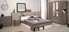 Schlafzimmer 5-tlg. mit 140x200 Bett und 4-trg Kleiderderschrank Most 41 von Parisot Akazie / Weiß