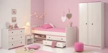 Schlafzimmer 4-tlg. mit 90x200 Stauraumbett und 2-trg Kleiderschrank Smoozy 21b von Parisot Kiefer Weiss / Pink