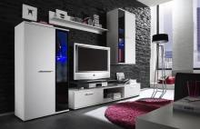 Wohnwand mit Beleuchtung schwarz weiss