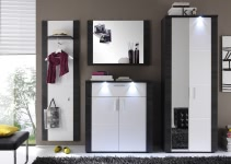 Garderobenkombination Weiss/Esche Grau