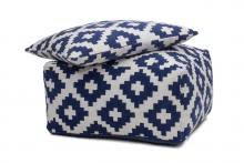 Hocker Set 2-tlg. Unwind Pouf und Cushion 260 Weiß / Blau  von Kayoom