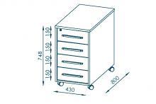 Anstell-Rollcontainer ABS-Kanten SYSTEM-OFFICE von MAJA edelbuche