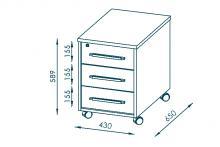 Rollcontainer ABS-Kanten SYSTEM-OFFICE von MAJA edelbuche/weiß hochglanz