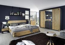 180x200 Bettanlage inkl Nachtkommoden NEVADA von Rauch Packs Eiche Wotan / Grau