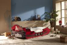 90x190 Piraten Bett ausziehbar bis 90x200 Crazyshark Bordeaux von Demeyere