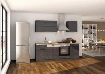 Küchenblock 220 inkl E-Geräte von PKM (3 tlg) MAILAND von Held Möbel Graphit / Eiche Sonoma