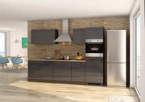 Küchenblock 290 inkl E-Geräte von PKM autark Induktion (4 tlg) MAILAND von Held Möbel Graphit / Eiche Sonoma