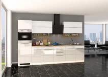 Küchenblock inkl E-Geräte 320 cm breit NEAPEL 320 von Held Möbel Weiss / Hochglanz Weiss