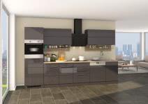 Küchenblock inkl E-Geräte und Geschirrspüler teilintegriert 330 cm breit NEAPEL 330GS von Held Möbel Grafit / Hochglanz Grau