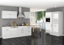 Küchenblock 390 inkl E-Geräte von PKM, Kühl/Gefrierkombi, autark (5 tlg) MAILAND von Held Möbel Weiss / Eiche Sonoma