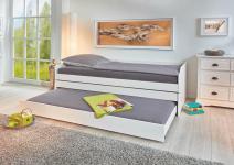 90x200 Funktionsbett LOTAR von Interlink Massivholz weiß lackiert