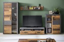 Anbauwand 4-tlg inkl. Beleuchtung INDY von Trendteam Old Wood / Graphit Grau Matera