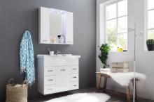 Badezimmer-Set inkl. LED-Beleuchtung AQUA von Trendteam Weiß Hochglanz