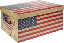 Aufbewahrungsbox 49,5x39x24 cm US/UK FLAGGEN DESIGN Beige / Rot / Blau von Koopman