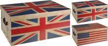 Aufbewahrungsbox 51x37x24 cm US/UK FLAGGEN DESIGN Creme / Rot / Blau von Koopman