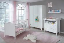 Babyzimmer Set 4-tlg inkl Kleiderschrank 3-trg Ole von Trendteam Weiss