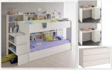 Kinderzimmer-Set 5-tlg inkl 90x200 Etagenbett Kommode u Schreibtische 2er Set Bibop 61 von Parisot Weiss