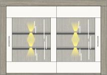 Buffet-Aufsatz inkl. LED-Beleuchtung Granada von Wohnconcept Haveleiche / Weiss supermatt