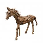 Dekofigur 60cm hoch HORSE recyceltes Teakholz Braun