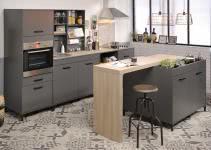 Einbauküche 7-tlg inkl Insel ohne E-Geräte Moove 1 von Parisot Grau / Eiche hell