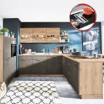 Einbauküche Riva 839 / Riva 893 inkl E-Geräte 120 + 275 x 215 cm von Nobilia Beton terragrau / Eiche San Remo
