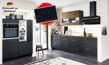 Einbauküche TOUCH 340 / RIVA 840 inkl E-Geräte 120 + 290 cm von Nobilia Schwarz / Nußbaum