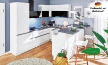 Einbauküche U-Form SUSANN 265 inkl E-Geräte 295 x 250 x 245 cm von Burger Weiß Hochglanz