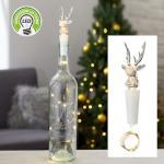 Flaschenlicht 8 LED HIRSCH 75 cm lang von CEPEWA Weiss