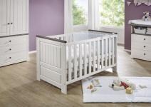 70x140 Babybett JOLINA von 3S Frankenmöbel Kiefer massiv weiß