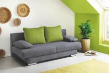 Funktionsssofa mit Gästebettfkt und großen Rückenkissen und aufgelegten Armkissen Griffin Grün