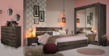 Schlafzimmerset 5-tlg inkl 160x200 Bett u Schweber ca. 204 cm breit Galaxy 303 von Parisot Walnuss
