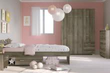 Mädchenzimmer 4-tlg 90x200 Stauraumbett u Kleiderschrank Galaxy 353A von Parisot Walnuss