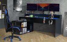 Gamer Tisch PC Schreibtisch inkl LED Beleuchtung TZRB214B3 TEZAUR von Forte Schwarz matt