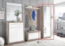 Garderobenschrank inkl Spiegel Kolibri von First Look Sandeiche / Weiß Hgl
