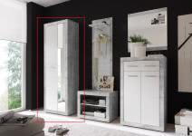 Garderobenschrank STONE von First Look Beton / Weiß glanz