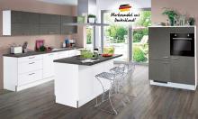 Inselküche STAR S23 / Base B12 inkl E-Geräte 270 + 120 + 180 cm von Express Küchen Weiss HG / Stahl Dunkel