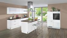 Inselküche STAR S23 inkl E-Geräte 270 x 120 x 180 cm von Express Küchen Weiss HG Kupfer